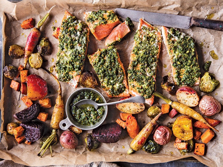 BakedSalmonwith Sage Pesto and Root Vegetables