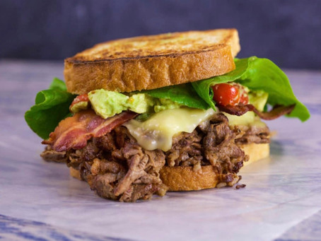 Shaved Beef 'n Bacon Clubhousewith Pepper Jack and Guacamole
