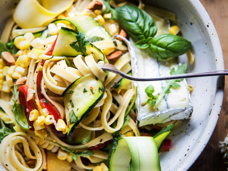 Goat Cheese Pasta Primavera with Marinated Veggies