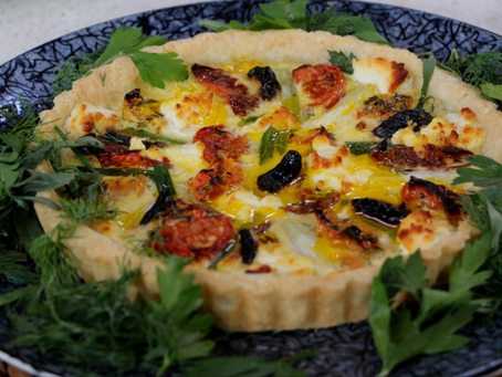 Oven dried tomato, spring leek & goat cheese tart.