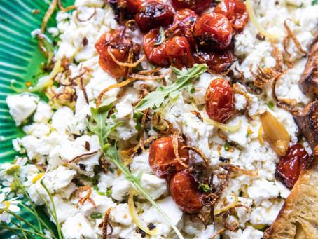 Lemon Feta Dip with Garlic Tomato Vinaigrette