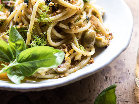 Fresh Herb, Parmesan & Olive Pasta with Pistachio Crumbs