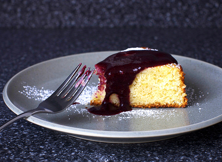 Lime Cake with Blackberry Sauce