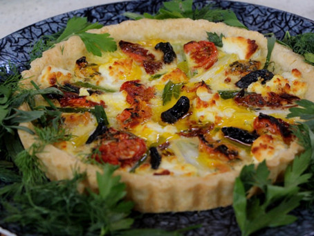 Oven dried tomato, spring leek & goat cheese tart