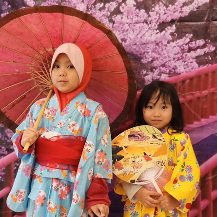 Japenese language culture week (Kids trying out Yukatas)