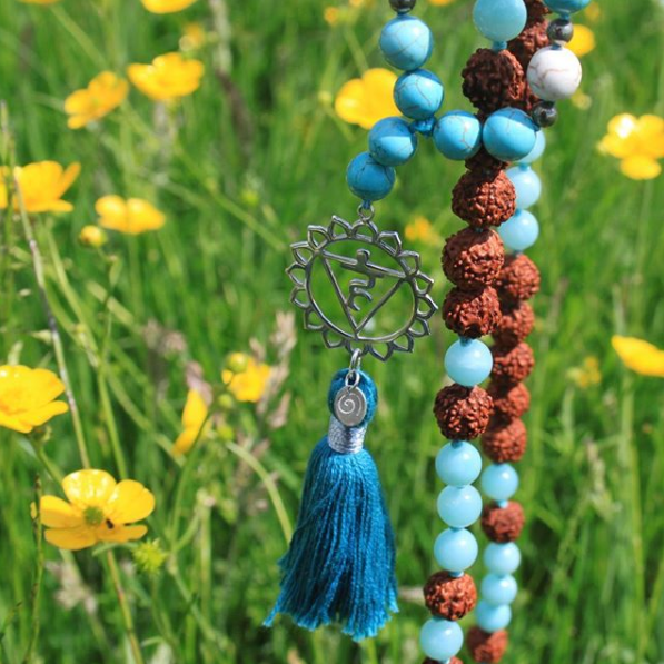 Turquoise 108 beaded Mala, handmade by Kanoa Living