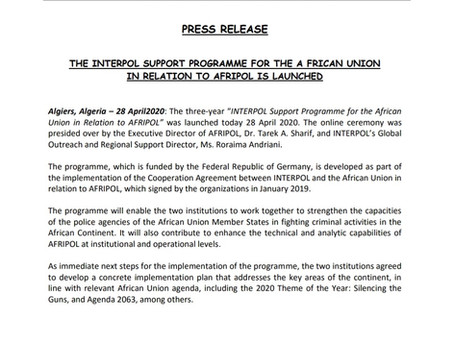 THE INTERPOL SUPPORT PROGRAMME FOR THE AU IN RELATION TO AFRIPOL IS LAUNCHED