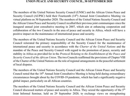 JOINT COMMUNIQUE: 14th JOINT AUPSC - UNSC ANNUAL CONSULTATIVE MEETING