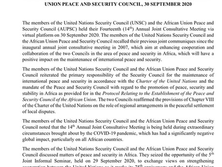 JOINT COMMUNIQUE: 14th JOINT AUPSC - UNSC ANNUAL CONSULTATIVE MEETING