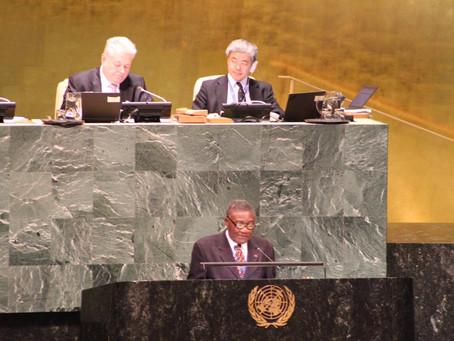 DEBAT DE L'ASSEMBLEE GENERALE SUR LE DEVELOPPEMENT DE L'AFRIQUE: DECLARATION DE S.E. TOMMO MONTHE