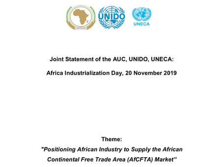 JOINT STATEMENT ON THE OCCASION OF THE 2019 AFRICA INDUSTRIALIZATION DAY