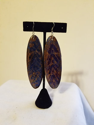 Glittered Oval Earrings