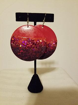 Large Round Glitter Earrings