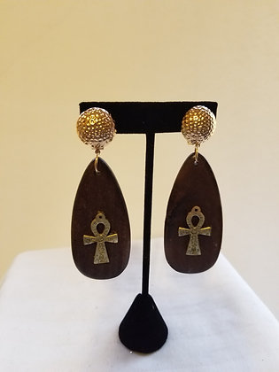 Tear Drop Ankh Earrings