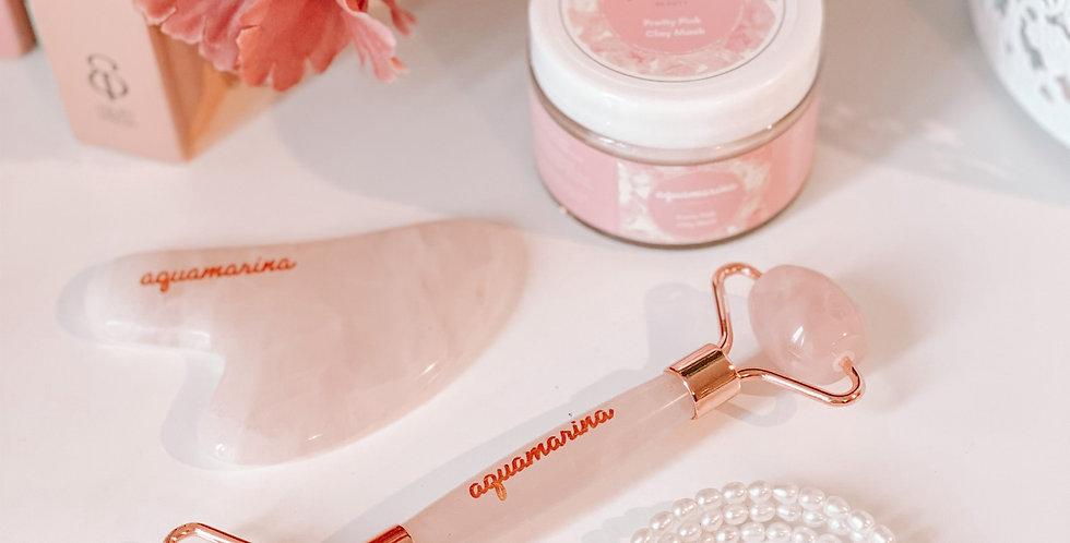 Rose Quartz Facial Roller and Gua Sha Set