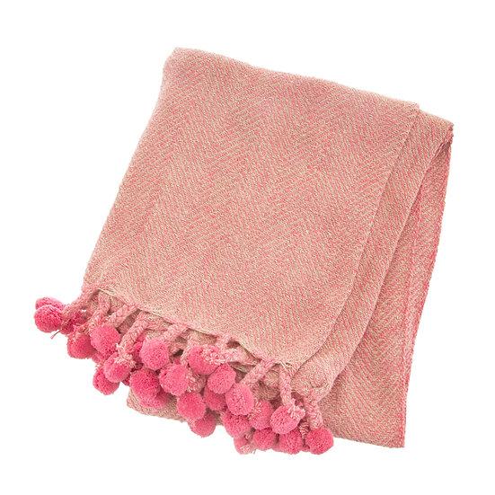 Pink Cosy Pom Pom Throw Blanket