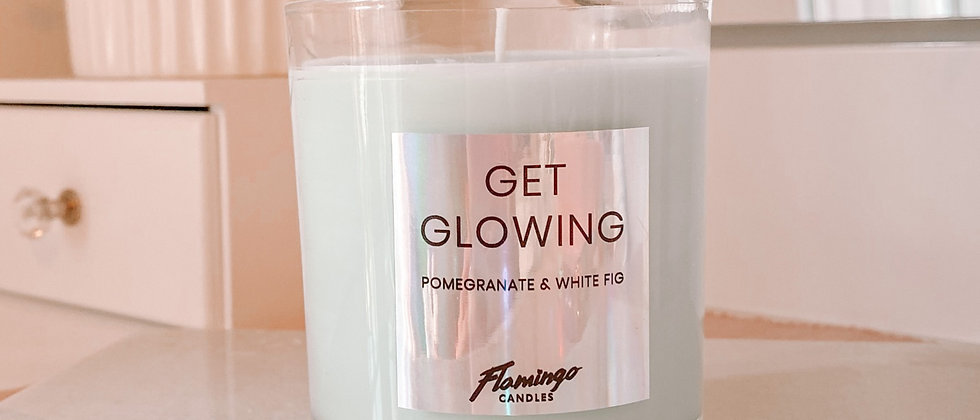 Get Glowing Candle Jar - Pomegranate + White Fig