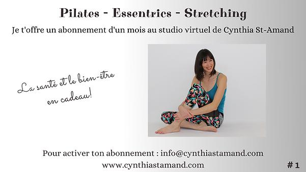 Entraînement virtuel pour femme. Les cours de pilates, essentrics et stretching en ligne proposés par Cynthia St-Amand améliore votre force et votre flexibilité.