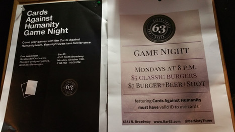 Cards Against Humanity Play Test at Bar 63 - Chicago, IL