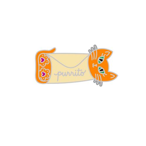 6 Purrito Cat Sticker pack (orange Purrito)