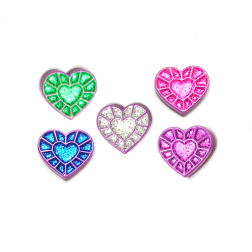 Purple Heart Gems (Set of all 5 glitter variants)