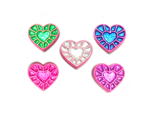 Pink Heart Gems (Set of all 5 glitter variants)