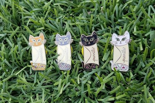 4 Purrito Pin Pack! (orange, black, grey, and white)
