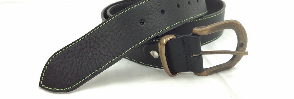 Ledergürtel schwarz 4cm - Rindsleder mit Naht