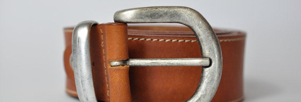 Ledergürtel rotbraun 4cm - Rindsleder mit Naht