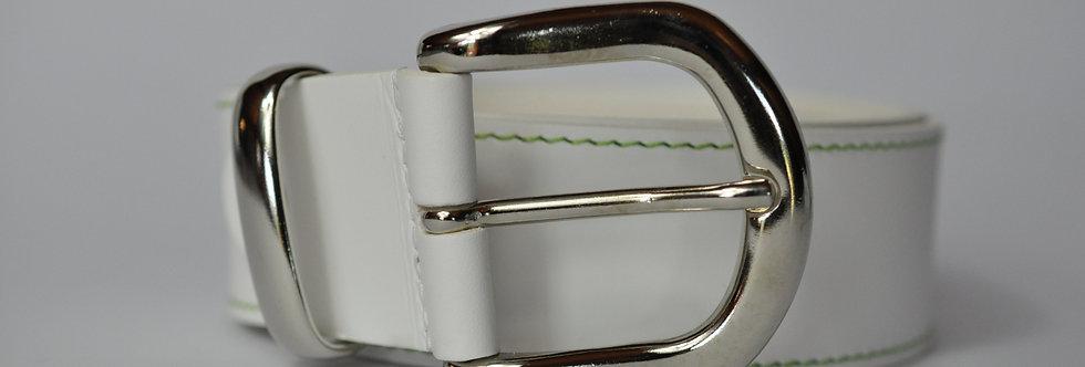 Ledergürtel weiß 4cm - Rindsleder mit Naht