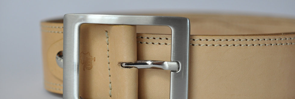 Ledergürtel Natur 4cm - Rindsleder mit Doppelnaht