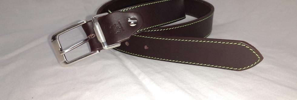 Ledergürtel dunkelbraun 4cm - Rindsleder mit Naht