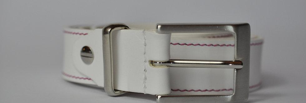Ledergürtel weiß 3cm - Rindsleder mit Naht