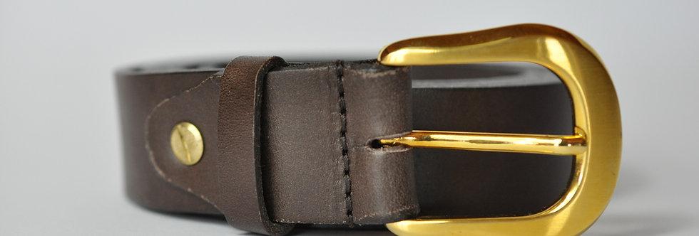 Ledergürtel dunkelbraun 4cm - Rindsleder ohne Naht