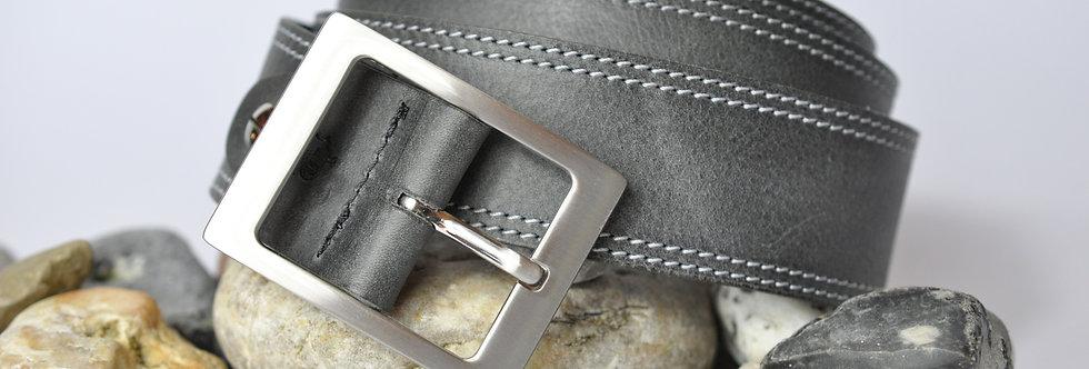 Ledergürtel grau 4cm - Rindsleder mit Naht