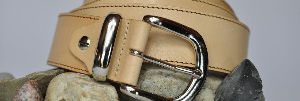 Ledergürtel Natur 4cm - Rindsleder mit Naht