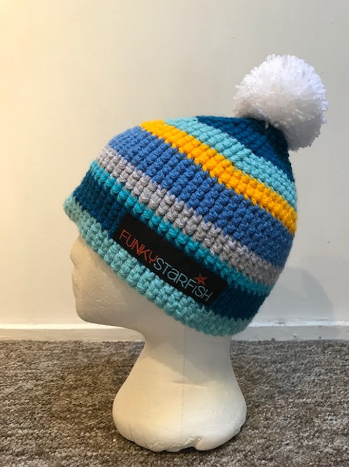 Bobble Hat -Blues and Yellow