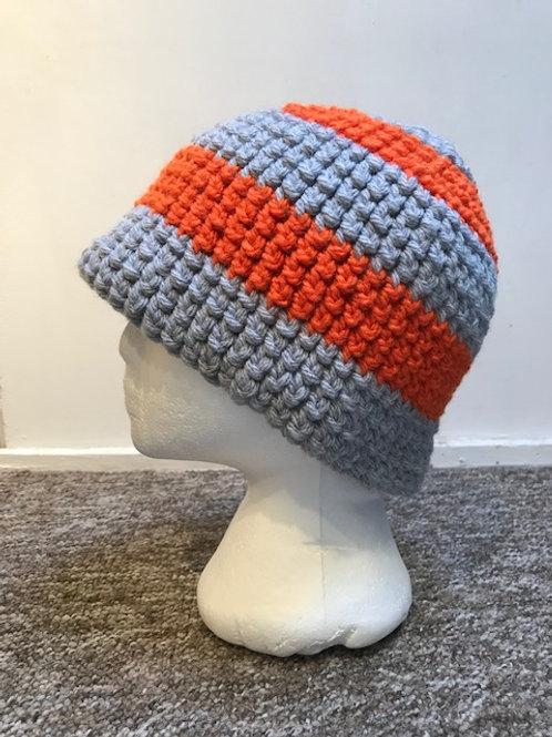 Bobble Hat - Orange, Grey