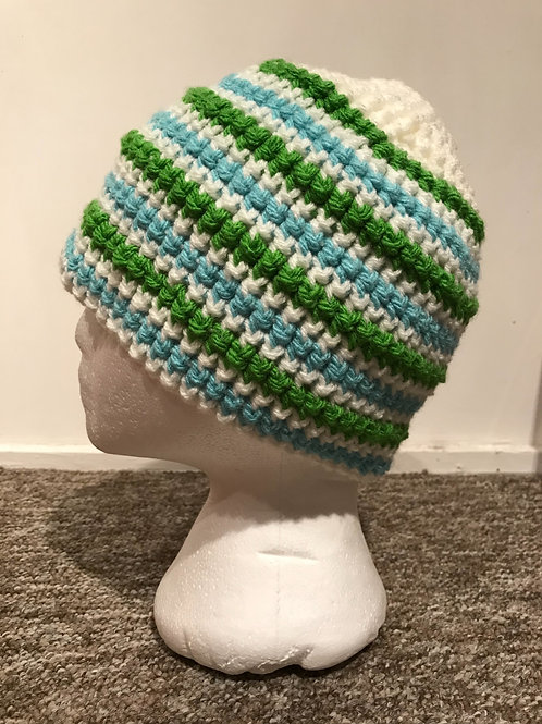 Bobble Hat - Stripes Green and Blue