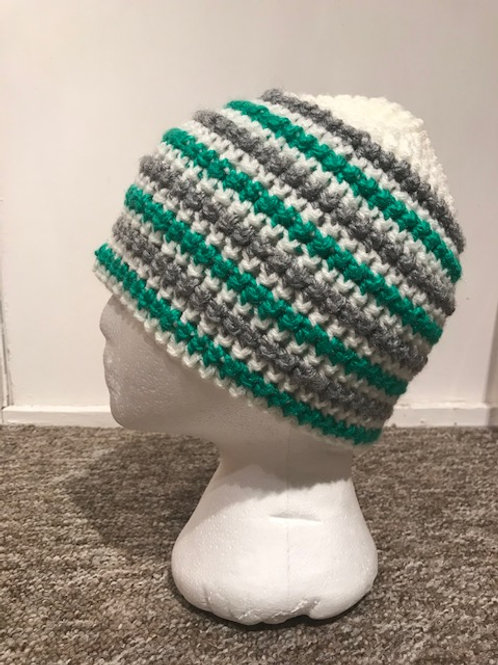 Bobble Hat - Stripes Green and Grey