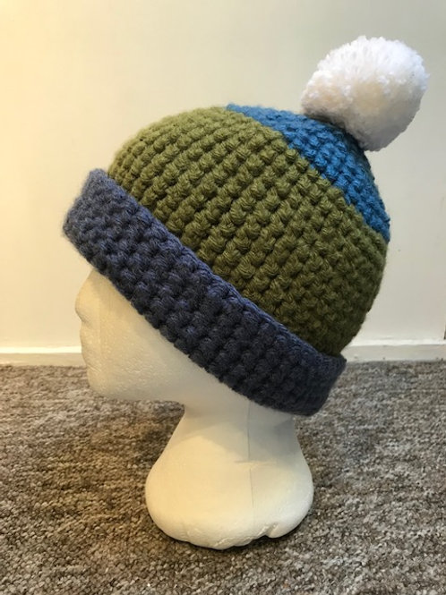 Bobble Hat - Blue's and Green *SOLD*