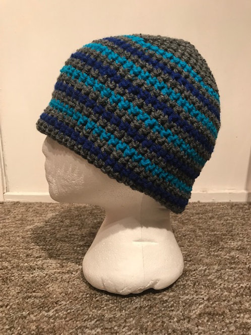 Bobble Hat - Stripes Blue's and Grey