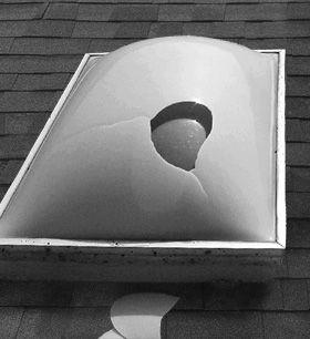 Broken plastic dome skylight