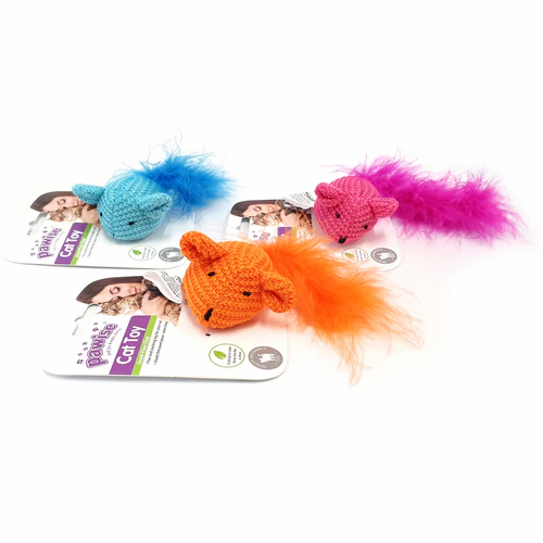 Pawise Cat Toy Mouse with Ribbon with Catnip