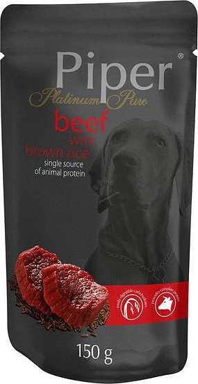 Piper Platinum Pure Beef with Brown Rice Pouch (150g)
