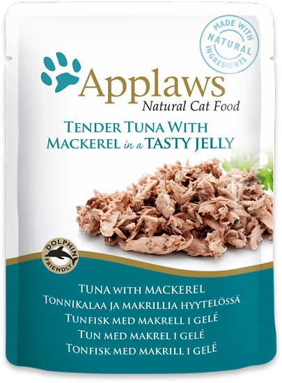 Applaws Tuna Wholemeat with Mackerel in Jelly Pouch