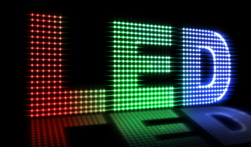 LED sign showing resolution, color and brightness