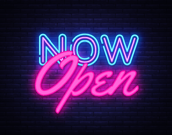 Now Open Sign in Houston