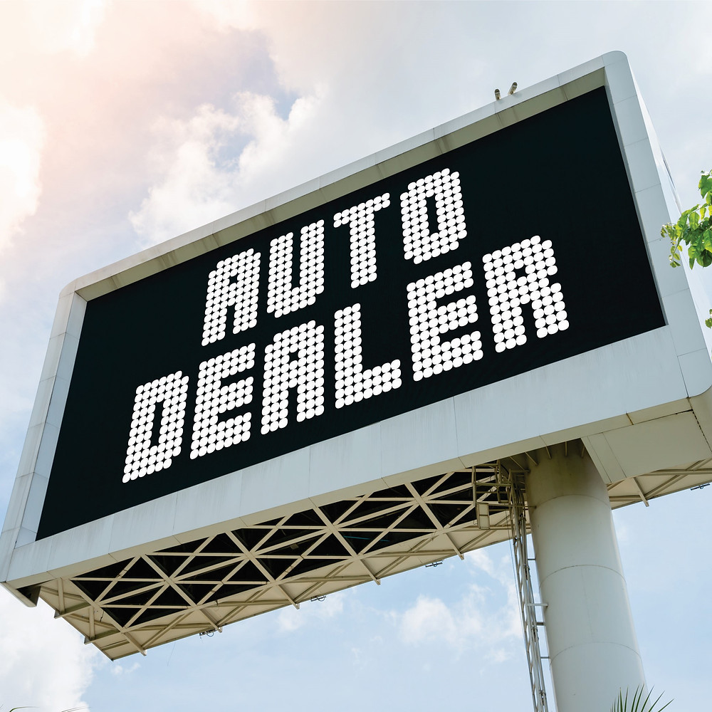 LED electronic message center (EMC) pylon sign for automotive dealership