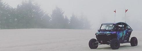 whip it light rods on a utv in the fog on sand